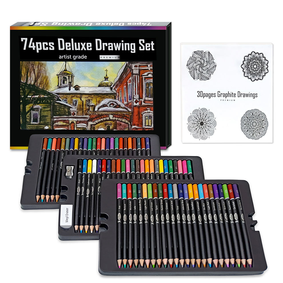 Art Set 74pcs Color Pencil Drawing Set Include Colored Pencils und Eraser Sharpener