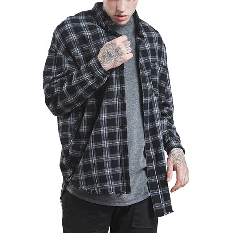 Shirt supplier wholesale custom long sleeve men plaid flannel shirt