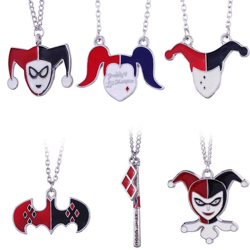 Hot Suicide Squad Choker Necklace Pendant Harley Quinn Joker Personalized Chain Jewelry For Kids Girls Birthday Halloween Gift