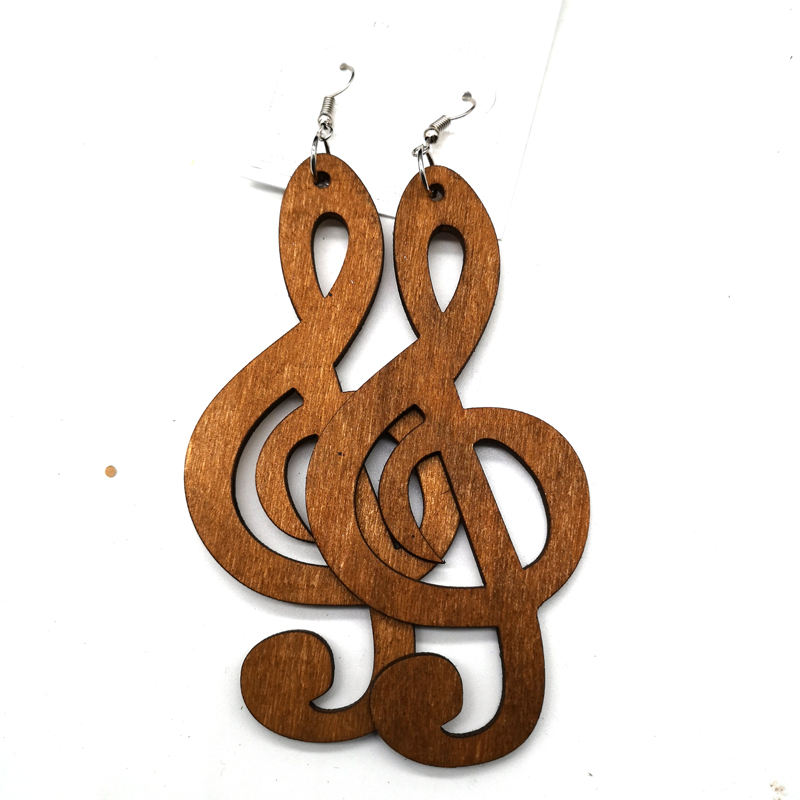 Music Note Wooden Earrings