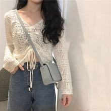2020 spring summer Korean fashion  wholesale women short pullover hollow knitted v-neck top long sleeve crop