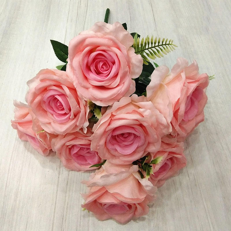 artificial silk material 9 heads Venus rose for wedding and home decoration