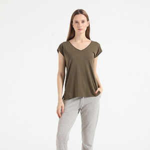 Tencel lyocell cotton organic recycled modal bemberg BCI OEM v-neck short sleeve women ladies t-shirt custom cut-sewn