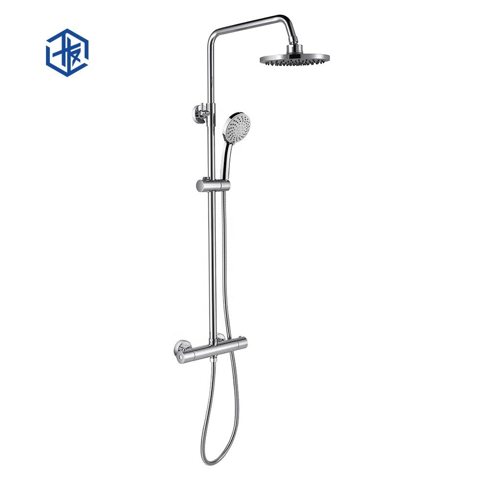 CE WRAS bathroom sanitary ware round shape hot cold water mixer faucet exposed installation thermostatic rain shower set