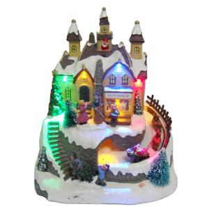 Custom LED lighted musical christmas village houses with music tower movement features wooden house train rotate decoration