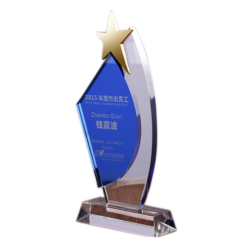Classic Design Crystal Shield Awards with Metal Star