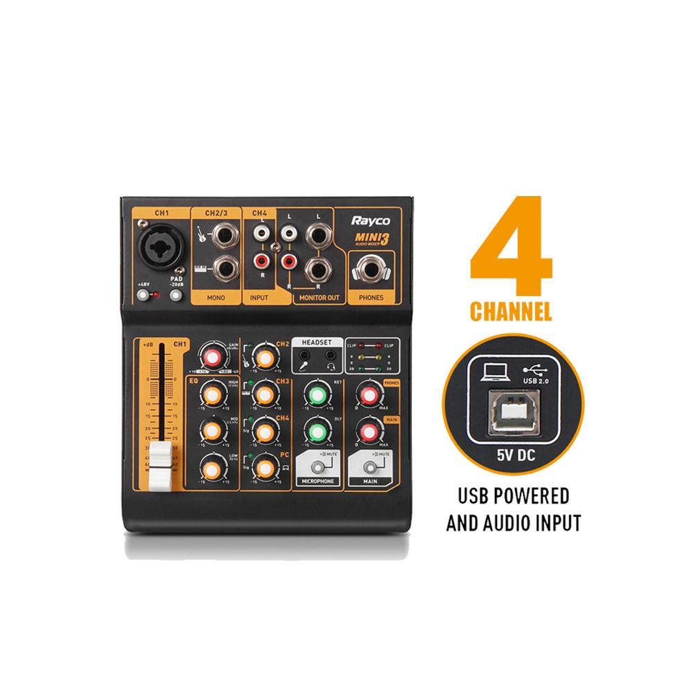 4 채널 휴대용 오디오 믹서 DJ 음악 콘솔 48V 팬텀 파워 오디오 인터페이스 DJ 라이브 웹 쇼