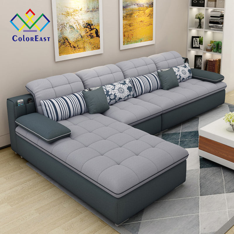 Fashion Latex Cushion with Removable Cover L Style Corner Sofa CEFS020 for Living Room