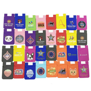 Silicone mobile phone card holder,adhesive cell phone sticker credit card holder with customized LOGO