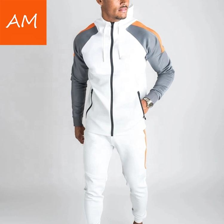 Blank sports jogger suit zip slim fit custom logo winter tracksuit for men