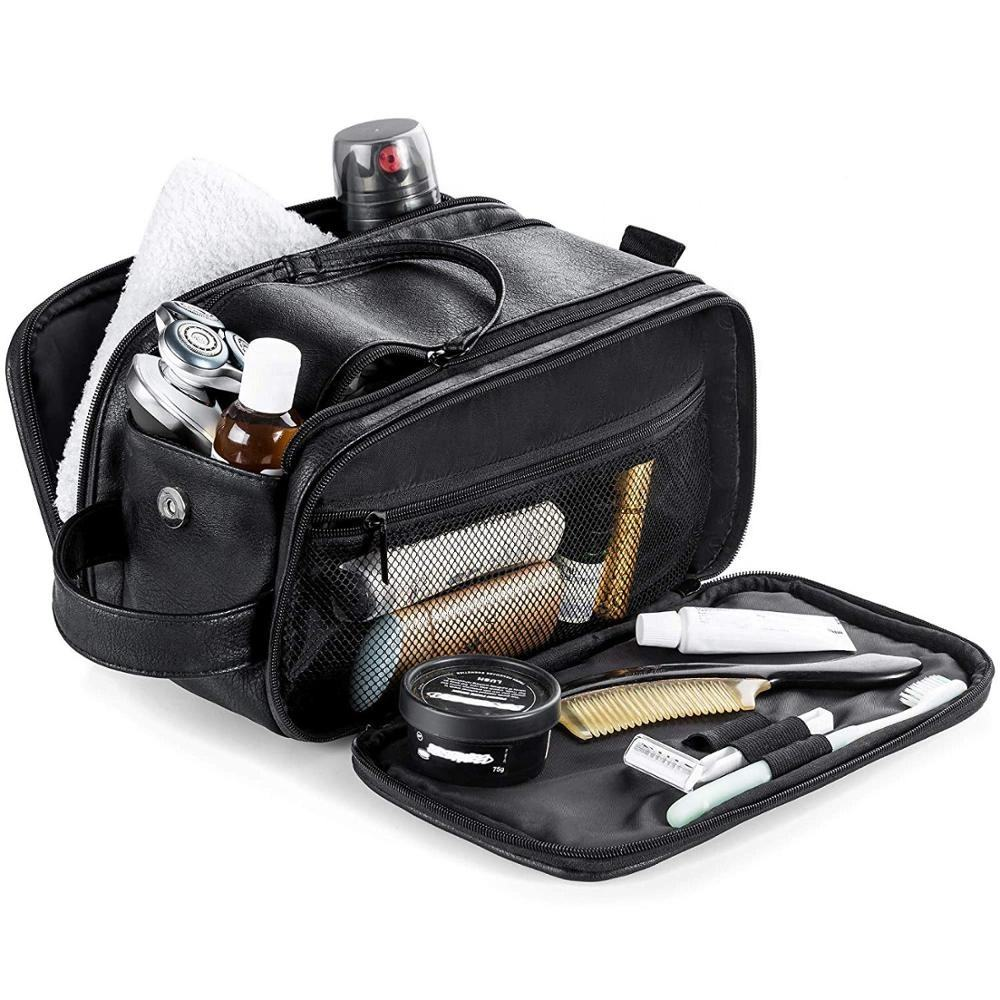 Toiletry Bag for Men Travel Shaving Dopp Kit Case Waterproof Bathroom Toiletries Organizer Leather Wash Bags