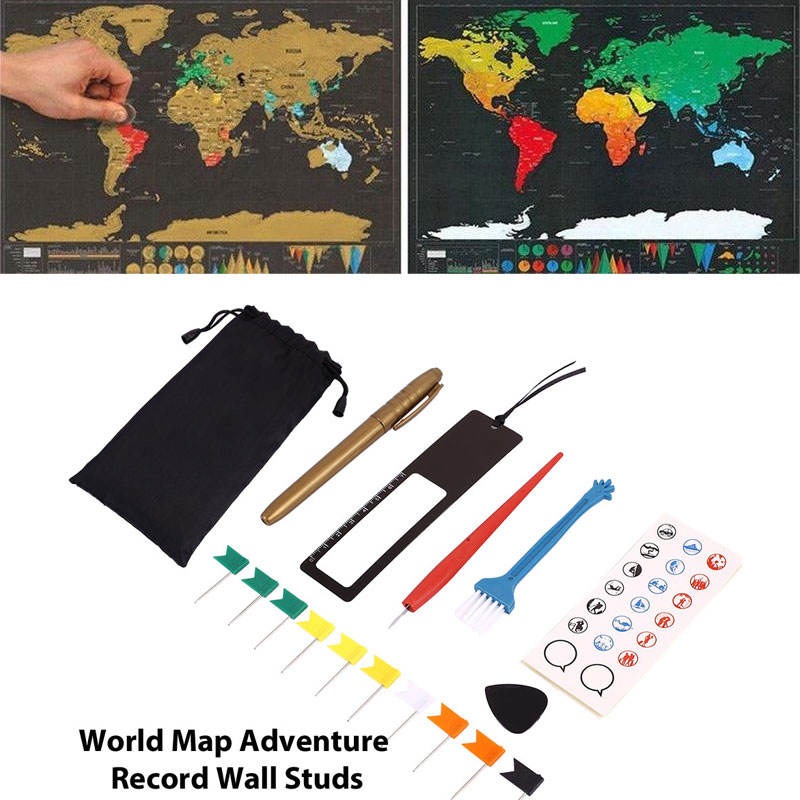 Scratch off Map Tools Set Markers Stickers Scratch Off Maps Accessories