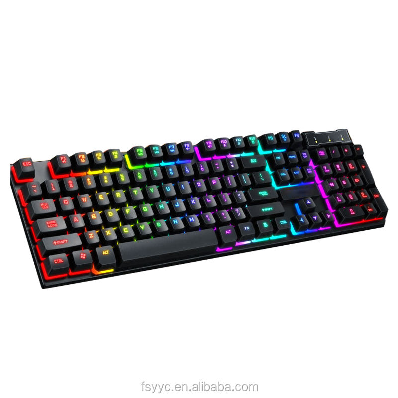 <span class=keywords><strong>Keyboard</strong></span> Game Ergonomis Tahan Air Mekanis, <span class=keywords><strong>Keyboard</strong></span> Bermain Game Lampu Latar Berkabel RGB Senyap