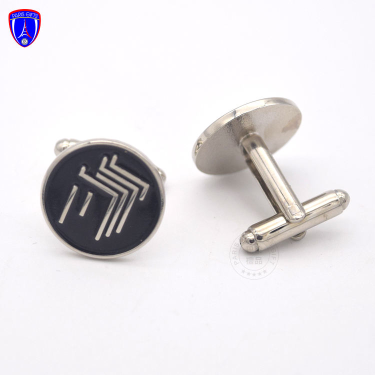 Oem Manufacturer Cheap Bulk Customised Car Logo Metal Cufflink Set Metal Soft enamel Black Cuff Links
