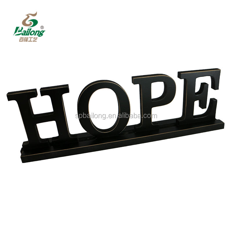 Decorative black wood crafts words standing sign decorations for home interior decor
