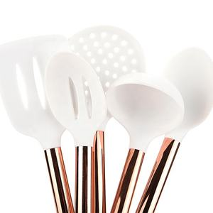 5 Piece Rose Gold Stainless Steel Handle White Non-stick Cooking Baking Tools Silicone Kitchen Utensil Set
