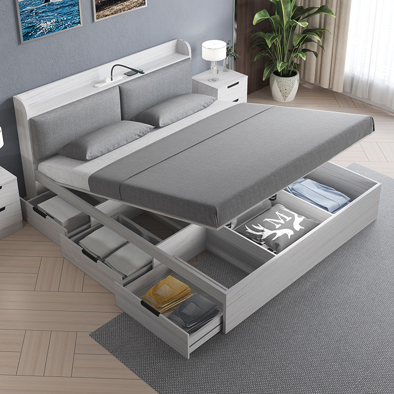 New design wood furniture Nordic style storage king/queen/single bed with headboard in white