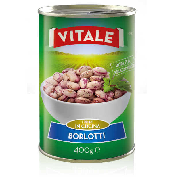 "Borlotti beans rehydrated in water and salt canned ""VITALE"" brand"