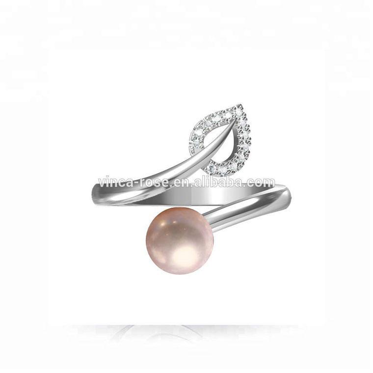 Mode designs blatt form weiß cz original perle halterungen ring 925 silber einstellbare moti ring tanishq perle schmuck