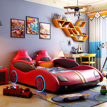 2019 HL-04 Wholesale Fashion Modern LED light race car shape children bed High-quality baby  leather bed
