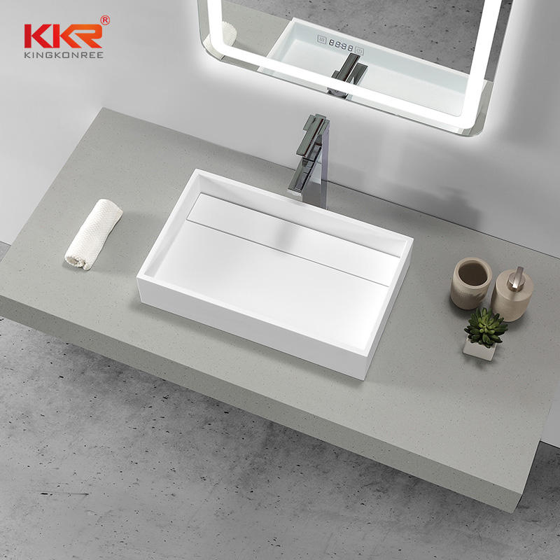 KKR Hotel bathroom sink lavatory solid surface artificial stone sink with artificial atone cover