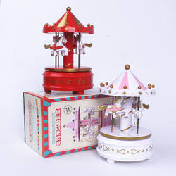 plastic wind up toys amusement park products baking supplies cake topper carousel Christmas merry-go-round music box cake tools