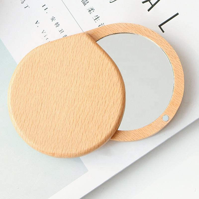 Wholesale Customized LOGO Round Wood Pocket Mirror