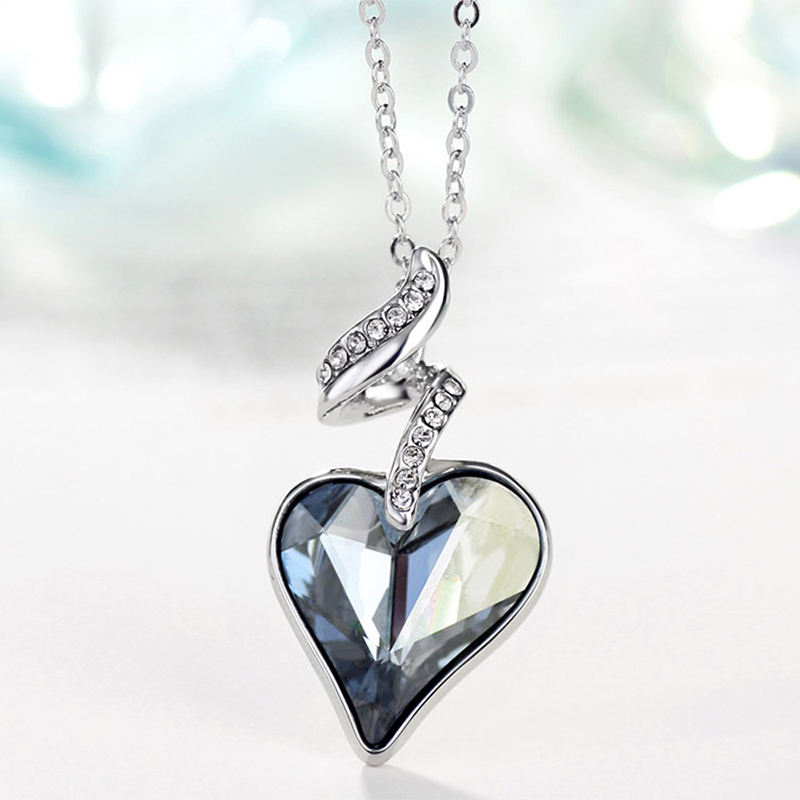 2020 Twisted Fancy Crystals From Swarovski Bridal Pendant Necklace Multi Colors Heart Shaped Necklace