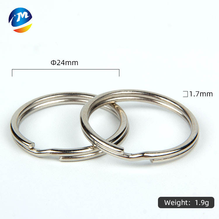 metal flat split rings keyrings round edged key ring silver plated 24mm keyring parts