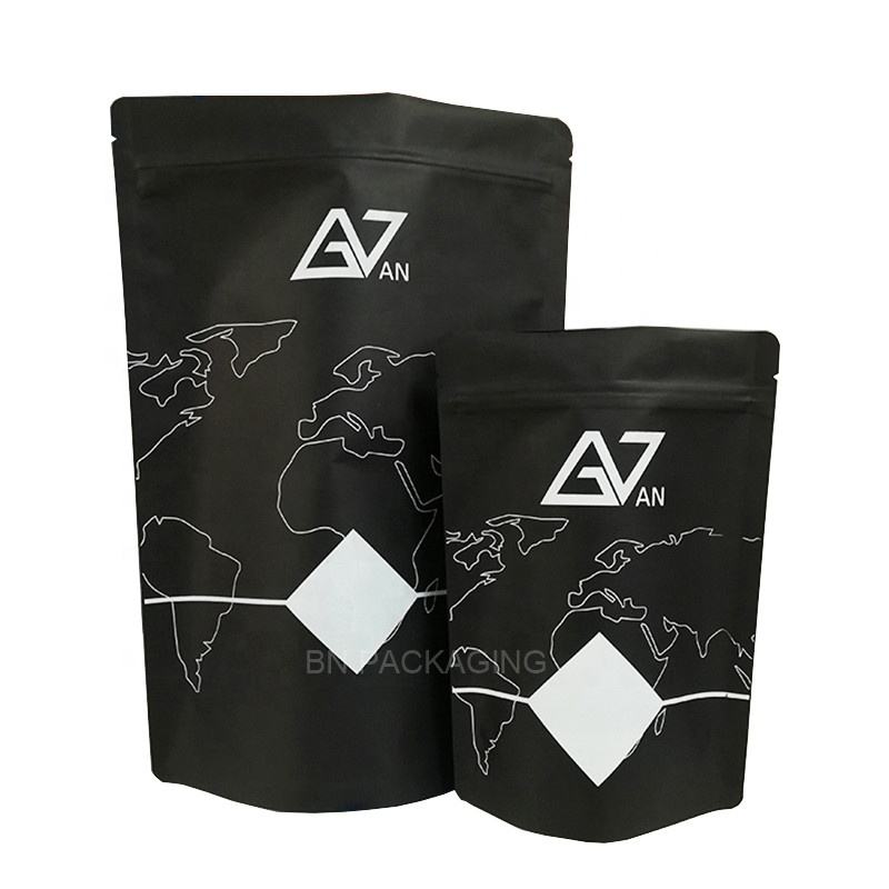 stock black paper doypack pouch food package tea tobacco packaging bag