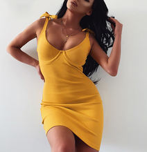 2020 Trendy summer solid color knitted dress fitted slim bodycon sexy club dresses women party