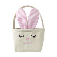 2020 popular fabric tail bucket gift bags burlap Easter Basket Bunny