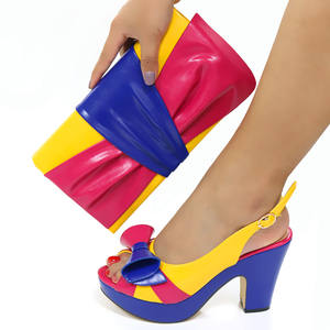 Italy popular ladies party shoes and matching bags african shoes and bag set