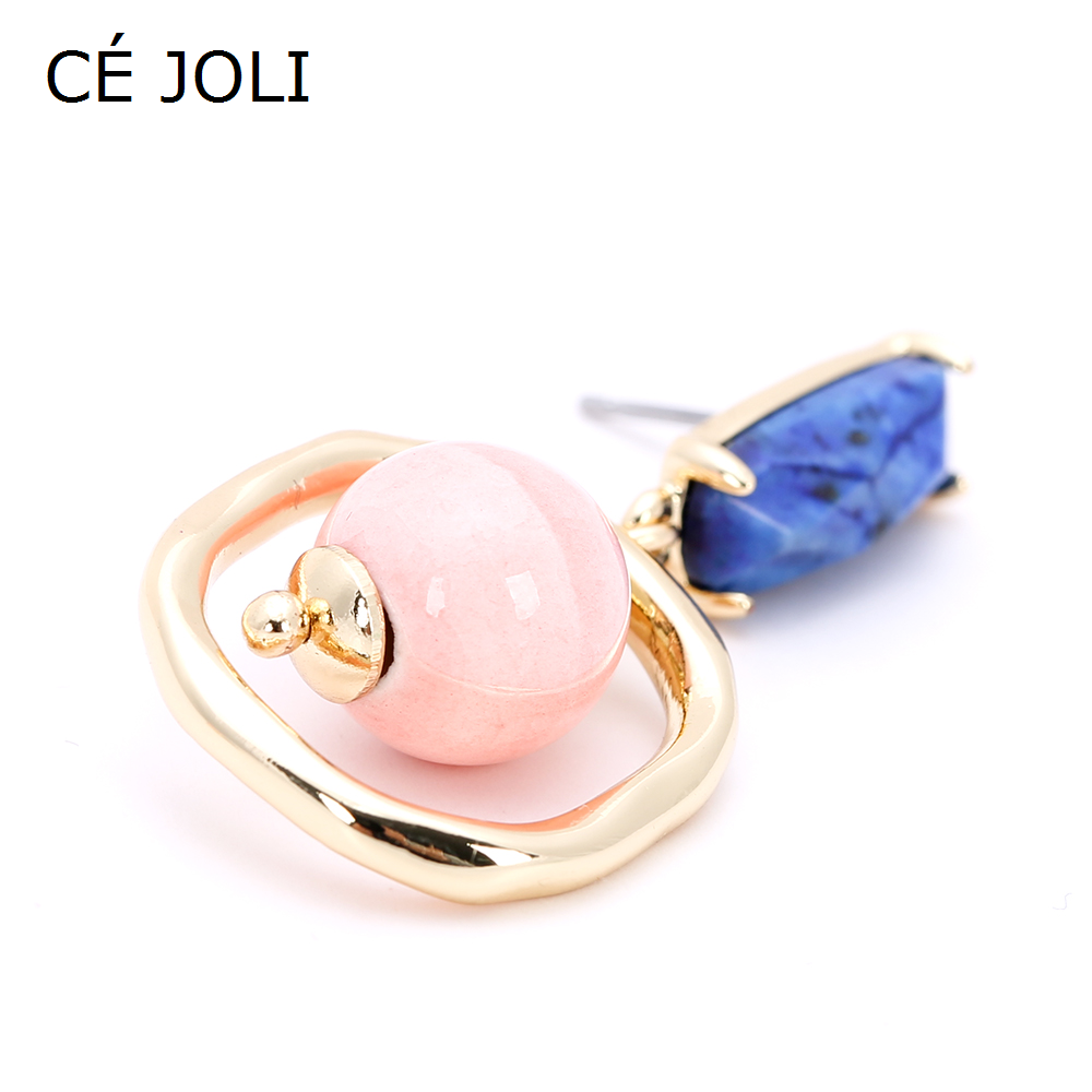 2020 latest design geometric drop earings with pink ceramic ball warm color jewelry dangling square pendant lapis synthesis ston