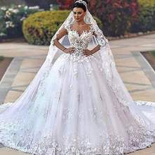 Vintage Lace Appliques Princess Arabic Ball Gown Wedding Dresses with Cap Sleeves Dubai Sweetheart Neckline 2020 New Bride Dress