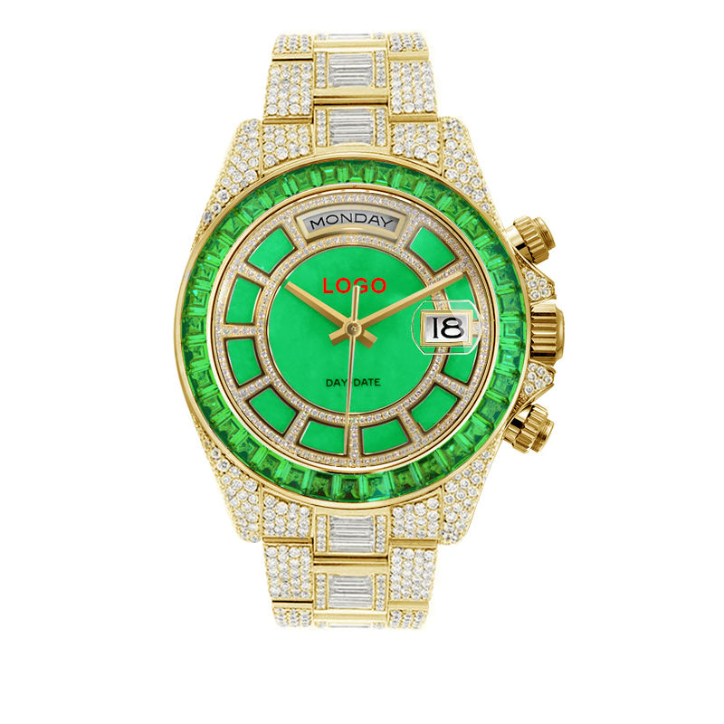 OEM Role Green Baguette Diamond 18K Gold Square Dial Day Date Week Display Iced Out Round Mens Watch Brand