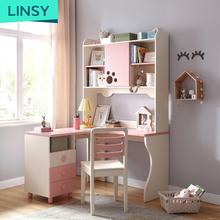 Pink Lovely Home Bedroom Corner Wood Children'S White Study Desk With Bookshelf