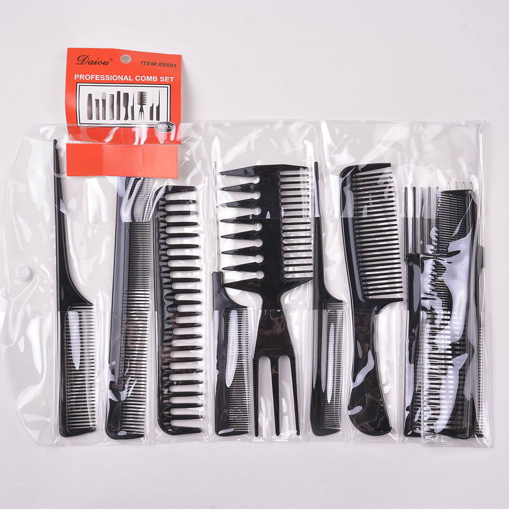 Wholesale 10 Pack Salon and home Use Plastic Barber Hair Styling Comb Sets