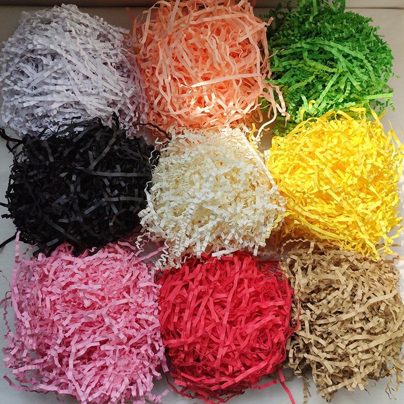 100g/bag Decorative Crinkle Cut Raffia Shredded Kraft Paper Crinkle Gift Box Filler Crinkle Paper