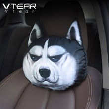 3D Cat Dog Panda Rabbit Printing Animals Head Car Seat Covers Neck Rest Plush Cushion Safety Headrest Without Filling Auto part