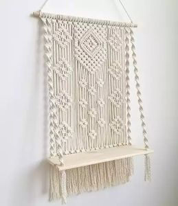 Macrame Woven Tapestry Wall Hanging Shelf Hanging Planter Basket Wall Handmade Plant Hanger Pot Party Wedding Home Decoration