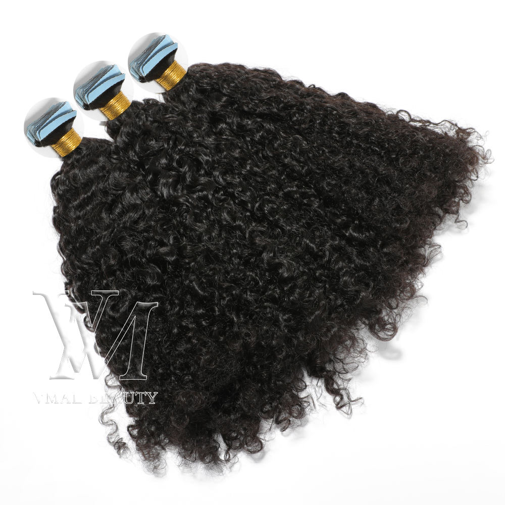 VMAE Brazilian Virgin Hair 100g 2.5g/pcs Natural Color Custom Kinky Curly Pre Bonded Tape In Human Hair Extensions
