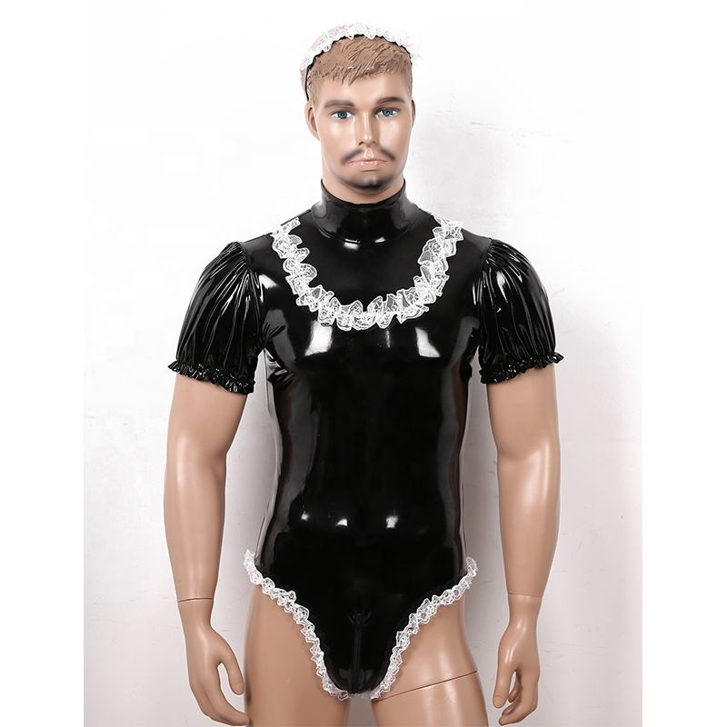 Men Maid Cosplay Costume Set Wet Look Patent Leather High Neck Short Puff Sleeve Leotard Sissy Bodysuit with Lace Headband