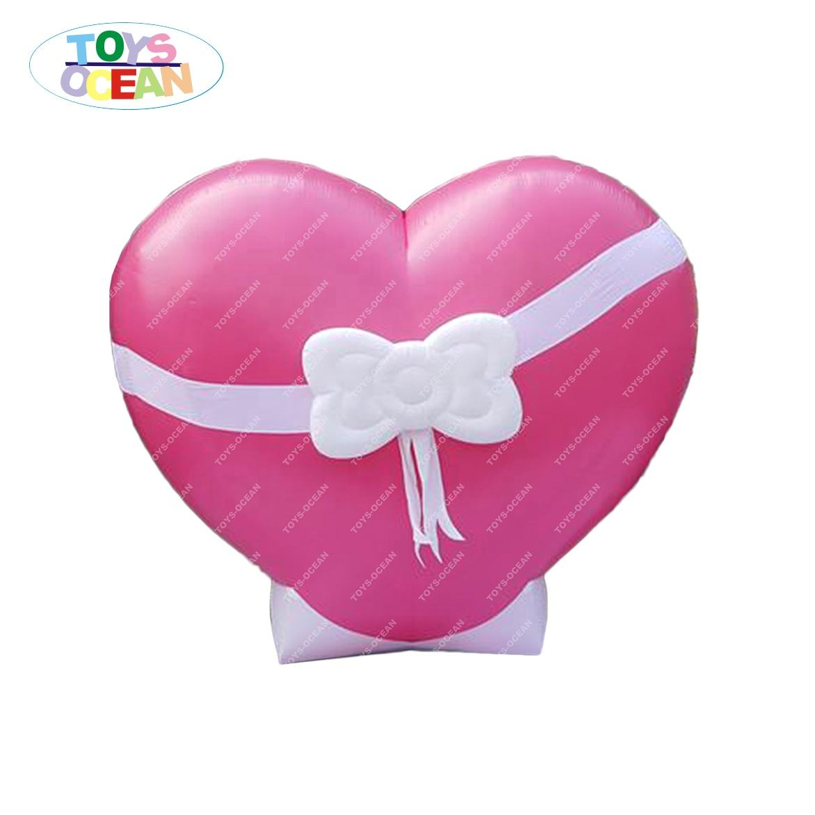 Large inflatable pink heart used for partner's anniversary surprise