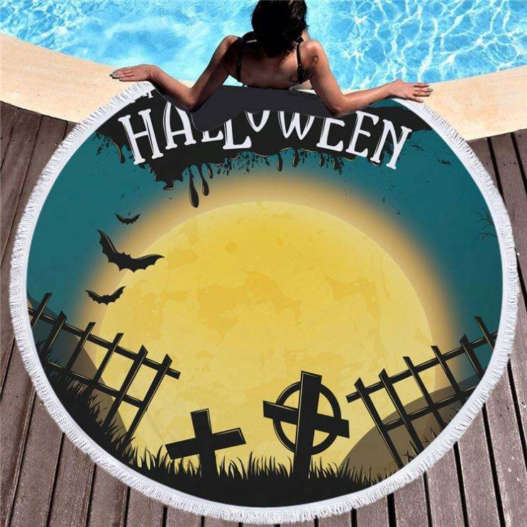 2019 New Design China Wholesale Trick Or Treat Halloween Design Round Beach Towel For Home Decoration And Beach Use