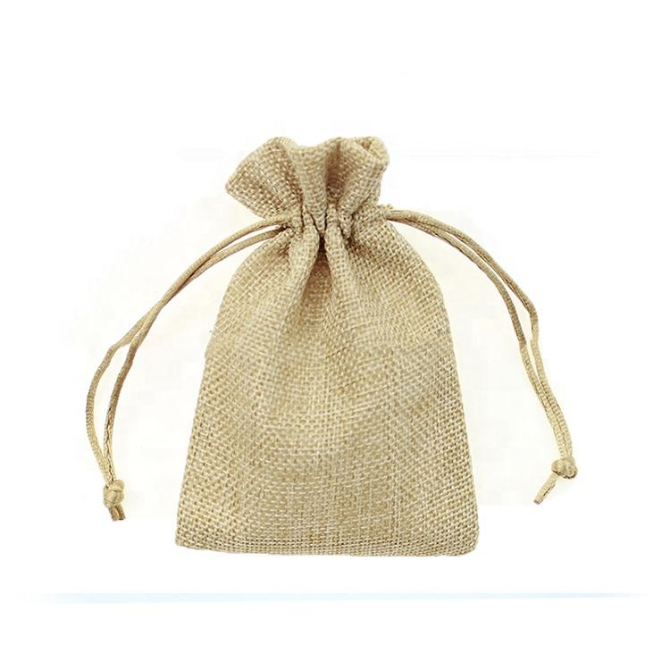 Beige Christmas Wedding Gift Bag Jewelry Pouch Cloth Linen Flax Fabric Packaging With Drawstring