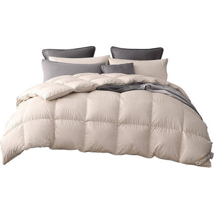 White Color Cotton Downproof Fabric Goose Feather Down Duvet Quilt