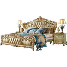 Antique style wooden bed solid wood furniture bedroom sets