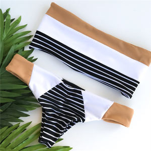 Wholesale High Cut Mini Brazilian Bandeau Sexy Bikini Set Custom Stripes Printed Strapless Swim Suit Swimsuit Women