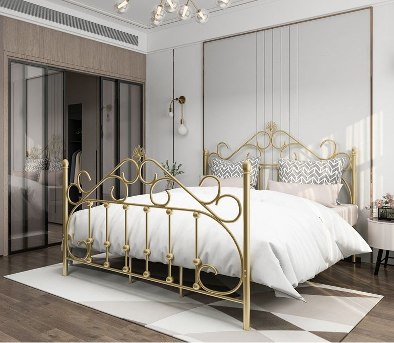 European style iron art fashion modern minimalist iron art 1.5 / 1.8 / 2.0 m double bedroom set bed
